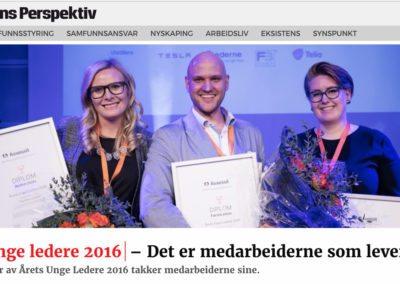 Ydmyk vinner av Årets Unge Ledere 2016 takker medarbeiderne sine
